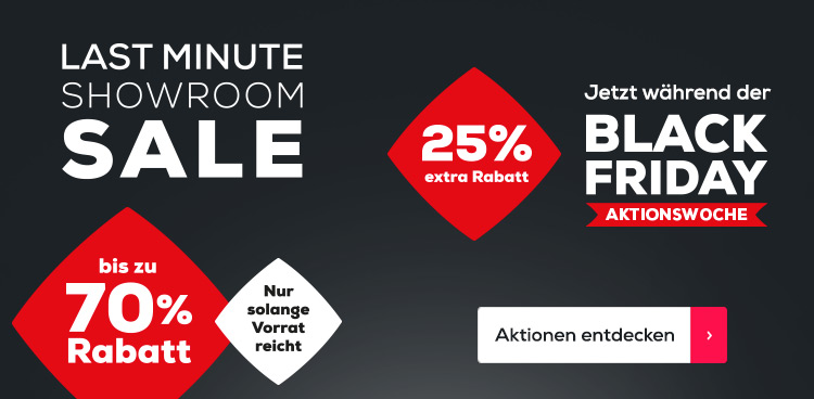 Last Minute Showroom Sale 25 % Rabatt Black Friday | Swiss Sense