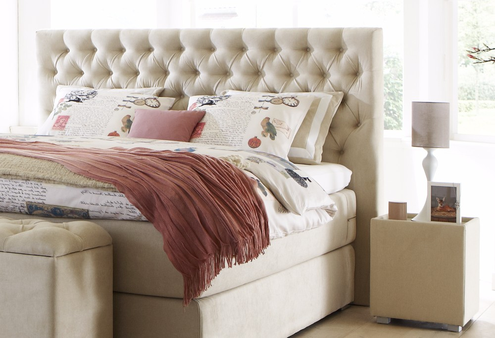 Beige boxspringbett Capella Estello