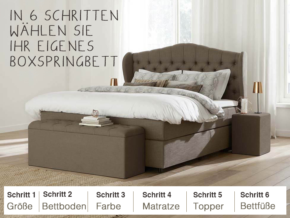 boxspring zusammenstellen lieferung swiss sense. Black Bedroom Furniture Sets. Home Design Ideas