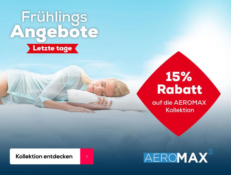 15% Rabatt auf AEROMAX Matratzen | Swiss Sense