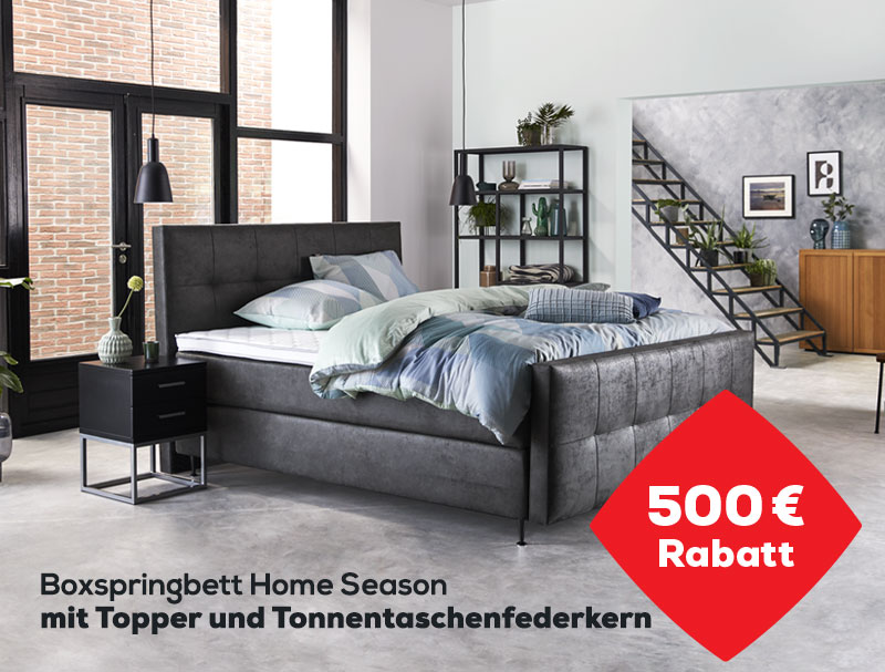 500 €  Rabatt auf das Boxspringbett Home Season | Swiss Sense