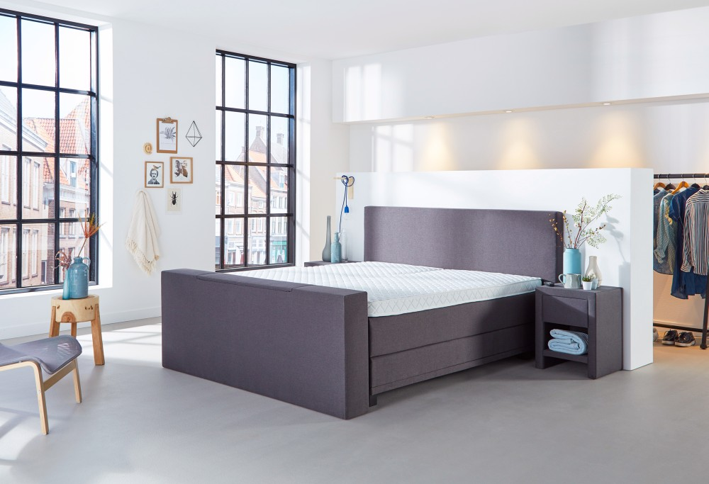Boxspringbett Grau mit TV lift Home  350 -4