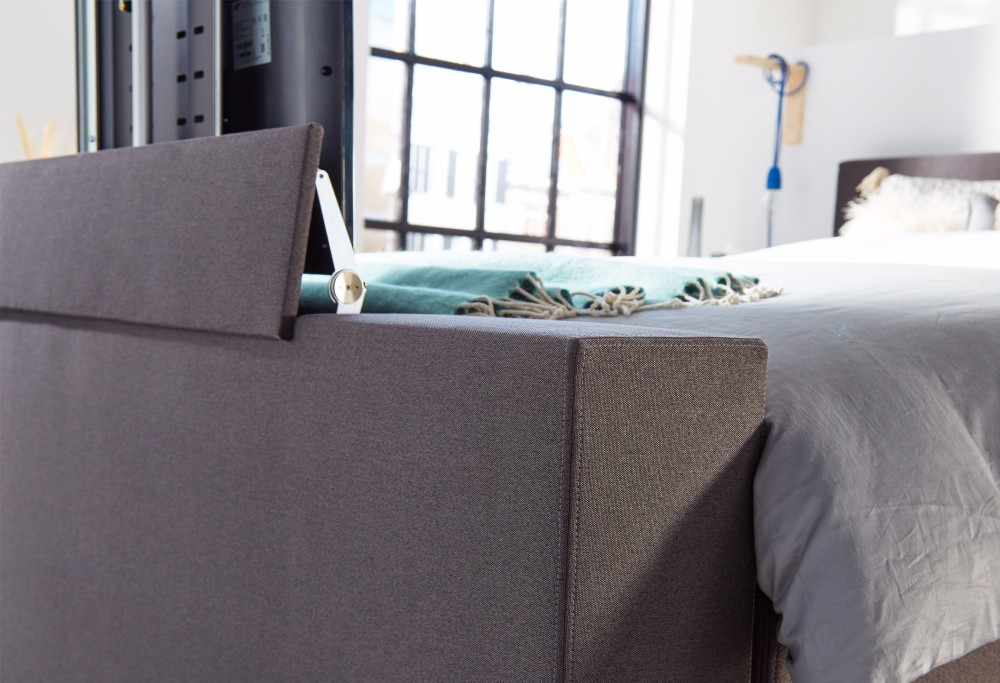 Boxspringbett Grau mit TV lift Home  350 -3