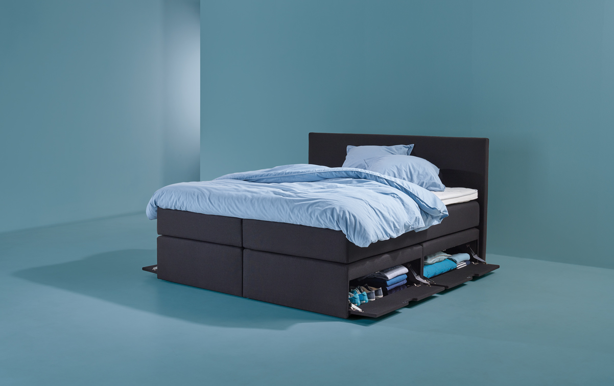 Schwarz Boxspringbett SMART storage 01 | Swiss Sense