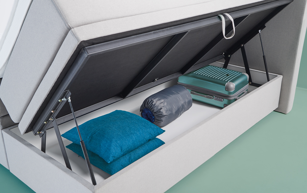 Grau Boxspringbett SMART storage 02 | Swiss Sense