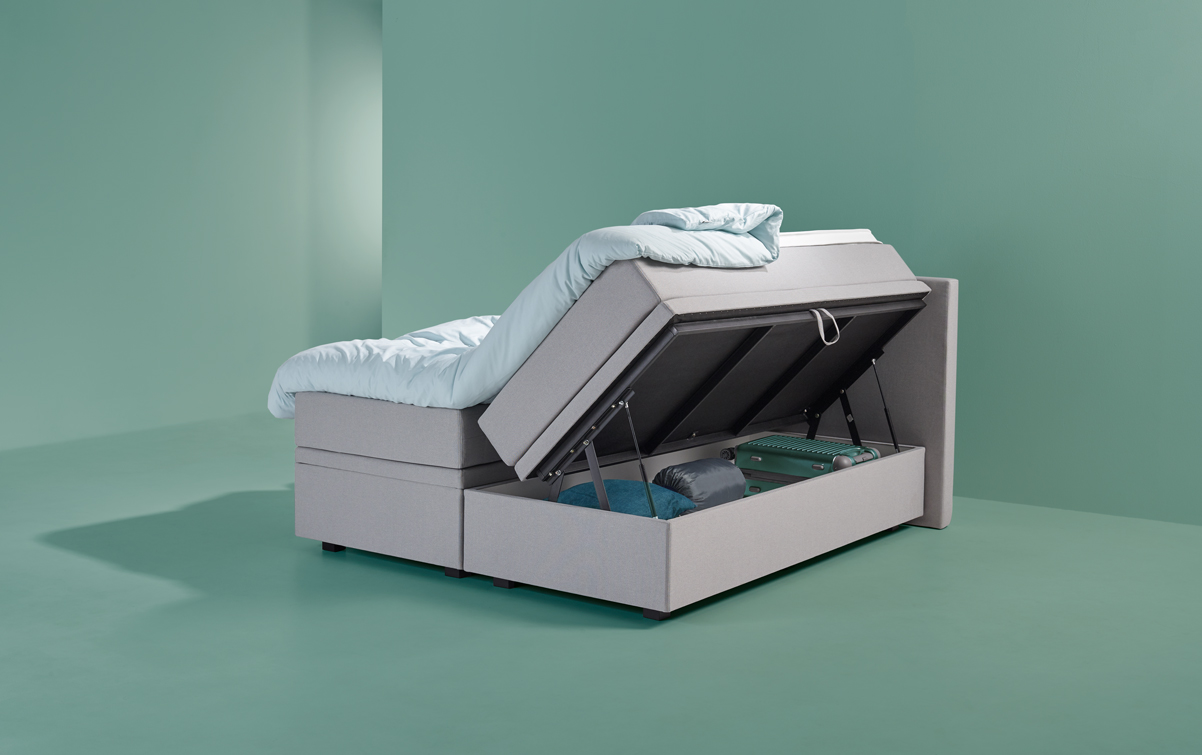 Grau Boxspringbett SMART storage 02 | Swiss Sense