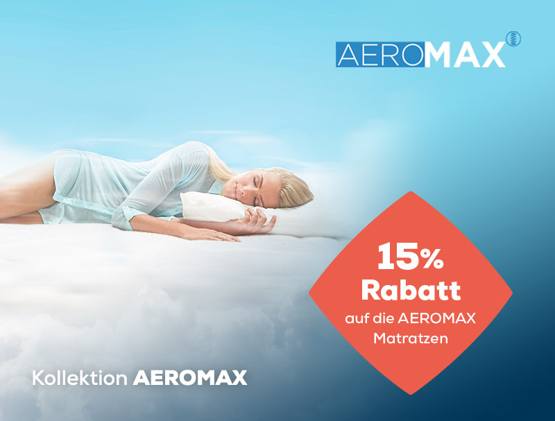 15% Rabatt auf AEROMAX Matratzen während des Summer Sales | Swiss Sense