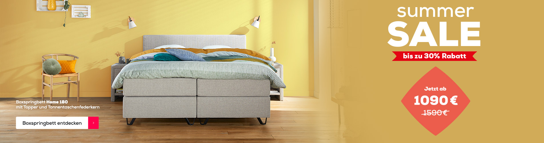 Boxspringbett Home 180 - Summer Sale| Swiss Sense